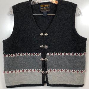 Vintage Woolrich Wool Vest Sliver Button Clasps| M